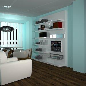 Proyecto para zona de Comedor y sobremesa. Mueble modular de Alivar realizado en lacas y sillones de piel.
