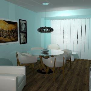 Proyecto para zona de Comedor y sobremesa. Mesa con pie central en madera y cristal y sillones de madera y piel.
