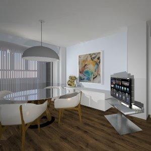 Proyecto con mesa aparador de apoyo en laca de Jesse y mueble TV en acero inox.
