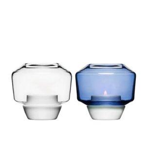 Portavelas cerámico y vidrio azul