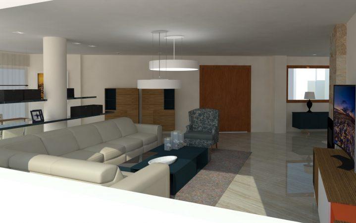 Salón contemporáneo, zona de relax y tv.